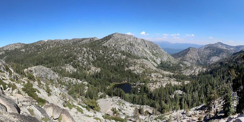 Panorama looking east from the Tahoe-Yosemite Trail with the Grouse Lakes below us