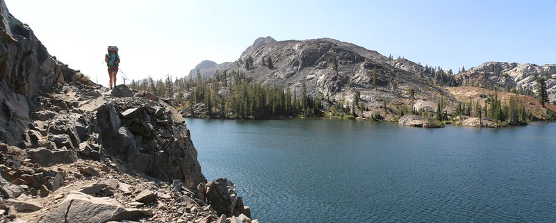 The PCT was cut into the precipitous northern shore of Heather Lake - a fun trail to hike!
