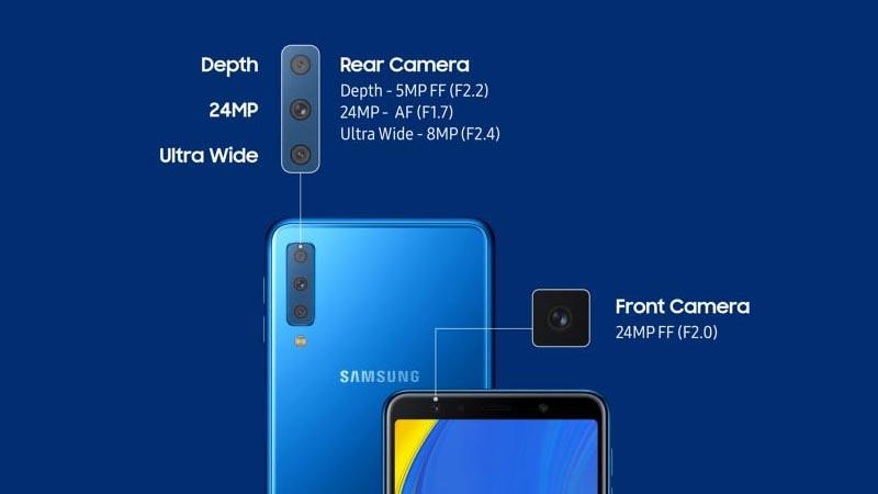 Triple camera di Samsung Galaxy A7 2018.