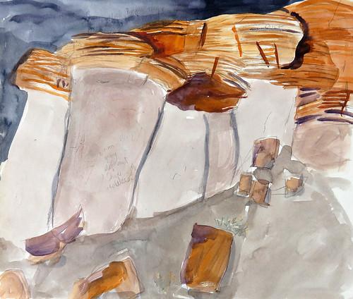 Canyonlands National Park in Utah: watercolour sketch of mushroom cap sandstone formations