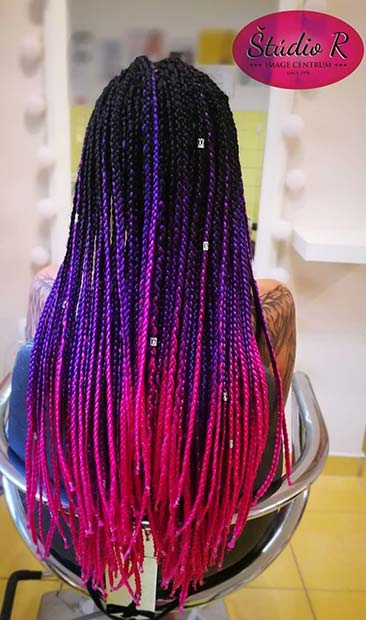 PURPLE TO PINK OMBRE BOX BRAIDS