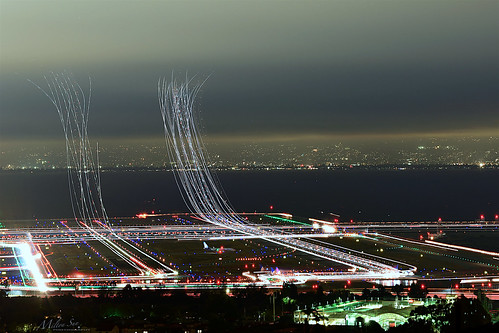 lighttrails sanfranciscointernationalairport millbrae sanfrancisco lowfog foginsf cityscape longexposure dusk seascape bay ngc bayarea wave ocean shore seaside coast california landscape outdoor clouds sky water nightphotography nightscene traffictrails traillights