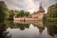 walking round from the left of the drawbridge and all the way round and back, the lovely Château de Saint Germain de Livet, fine art colour, Pays d'Auge, Normandy, France - Photo of Lessard-et-le-Chêne