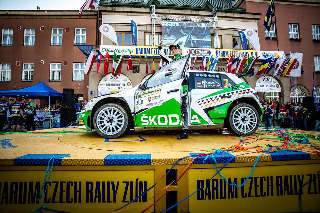 07 Kreim Fabian, Christian Frank, DEU/DEU, Skoda Auto Deutschland, Skoda Fabia R5, podium ambiance during the 2018 European Rally Championship ERC Barum rally,  from August 24 to 26, at Zlin, Czech Republic - Photo Thomas Fenetre / DPPI