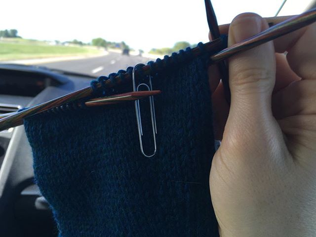 Knitting a sleeve on the way to the Finger Lakes Fiber Festival! (With a super-classy paperclip stitch marker, ha!) We can't go to Rhinebeck this year, so this is our local substitute. We'll stay through lunch and then head home - much easier when it's on