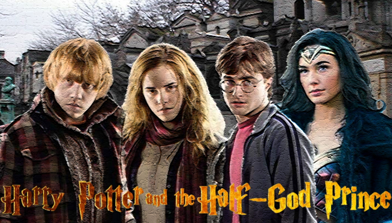 Ron, Hermione and Harry with Wonder Woman
