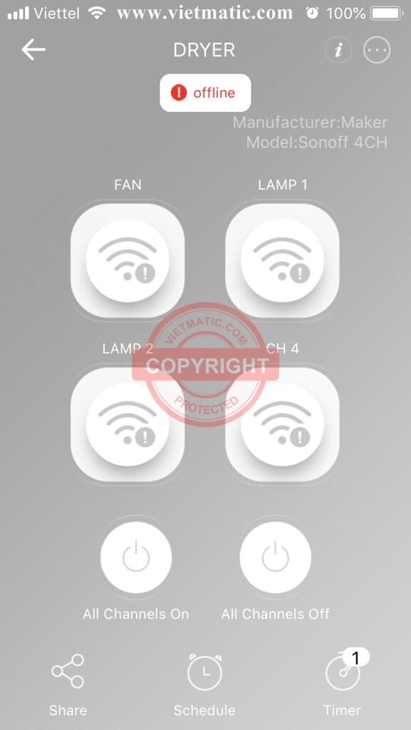 Bộ công tắc Wifi 4 kênh của Sonoff bị lỗi Offline (ngoại tuyến)