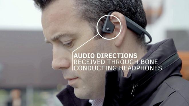 【圖七】骨傳導頭戴式耳機可透過震動,將聲音由顎骨傳遞至內耳,此技術可避免耳塞式耳機完全阻絕來自其他用路人和道路環境音的缺點。