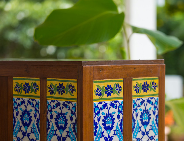 Restored cupboard with inlay tiles