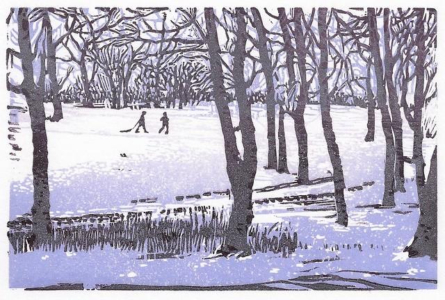 Walking-in-Snow-lino-1