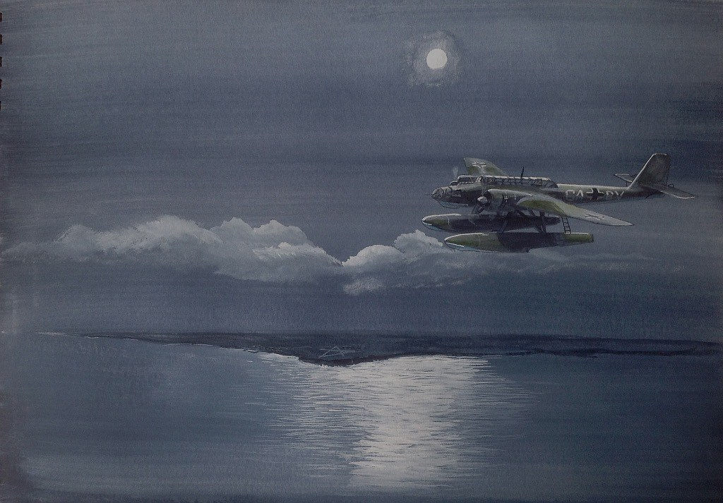 Heinkel Hk115 Seaplane off the east coast of Scotland. The a-c is flying past Crail where the runways of the Naval Air Station are reflecting the moonlight. It is returning to its base after laying mines off the Tay Estuary.