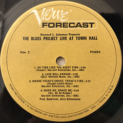 THE BLUES PROJECT:THE BLUES PROJECT LIVE AT TOWN HALL(LABEL SIDE-B)