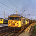 56129-56106 Stanlow-Teesport hot oil train, Warrington Bank Quay 06.1984