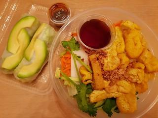 Vegan Lemongrass Tofu Rice Salad Bowl and Avocado Rice Paper Rolls from Bun