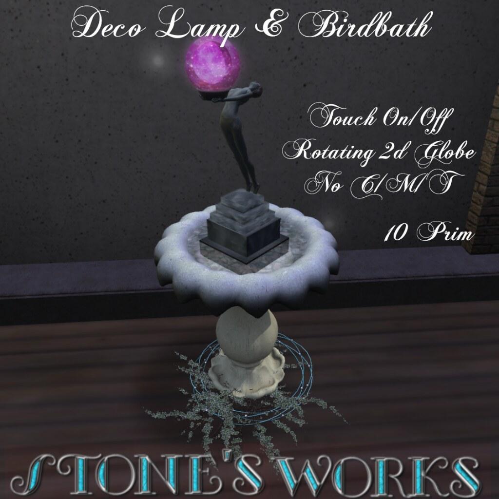Deco BirdBath Stone's Works