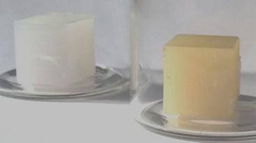 Two blocks of polyethylene, one treated