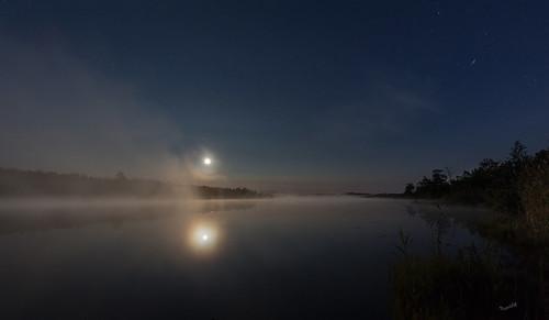 fullmoon lake mist fog täysikuu usva night yö mattisaranpää päiväjärvi kokkola finland
