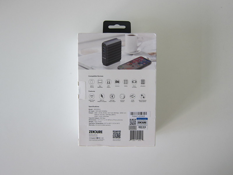 Zendure 63W USB-C PD Charger - Box Back