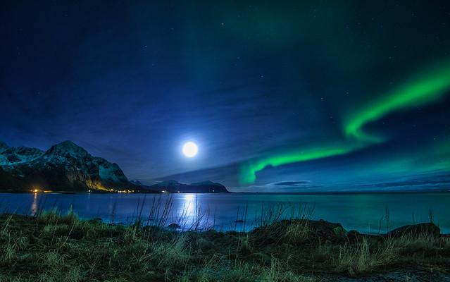 A moonlight scene from Vareidet in Flakstad, Lofoten islands