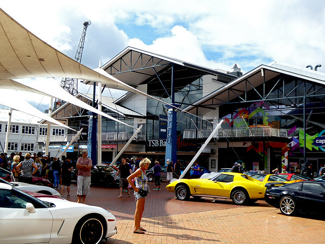 Showcasing the Corvette Exhibition located outside Wellington's TSB Stadium during Chinese new Year Celebrations.