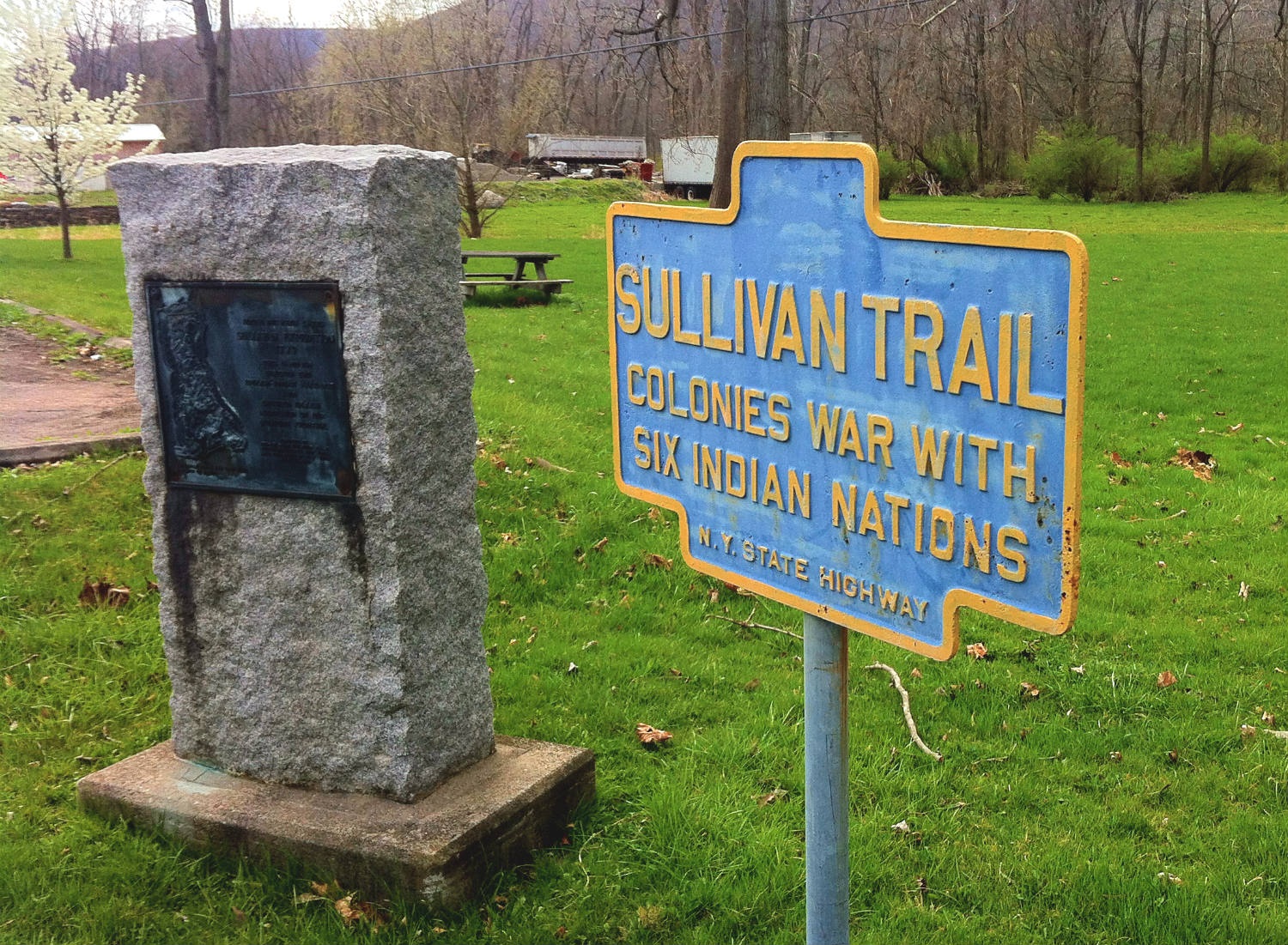 Marker on the Sullivan Trail in southern New York State.