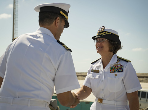 Fri, 09/07/2018 - 12:26 - 180907-N-UY653-191..ALEXANDRIA, Egypt (Sept. 7, 2018) Vice Adm. Lisa M. Franchetti, commander, U.S. 6th Fleet and commander, Naval Striking and Support Forces NATO, right, greets Cmdr. Tyson Young, commanding officer of the Arleigh Burke-class guided-missile destroyer USS Carney (DDG 64), in Alexandria, Egypt, Sept. 7, 2018. Carney, forward-deployed to Rota, Spain, is on its fifth patrol in the U.S. 6th Fleet area of operations in support of regional allies and partners as well as U.S. national security interests in Europe and Africa. (U.S. Navy photo by Mass Communication Specialist 1st Class Ryan U. Kledzik/Released)