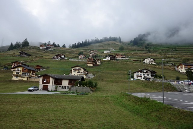 Precisely arranged chalets on the hillside