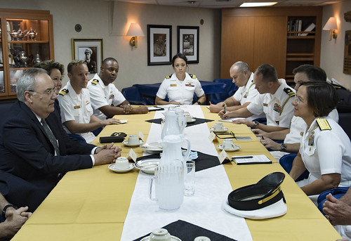 Fri, 09/07/2018 - 12:38 - 180907-N-UY653-154..ALEXANDRIA, Egypt (Sept. 7, 2018) Vice Adm. Lisa M. Franchetti, commander, U.S. 6th Fleet and commander, Naval Striking and Support Forces NATO, right, speaks with Thomas Goldberger, Charge d' Affaires of the United States Embassy in Egypt, aboard the Arleigh Burke-class guided-missile destroyer USS Carney (DDG 64) in Alexandria, Egypt, Sept. 7, 2018. Carney, forward-deployed to Rota, Spain, is on its fifth patrol in the U.S. 6th Fleet area of operations in support of regional allies and partners as well as U.S. national security interests in Europe and Africa. (U.S. Navy photo by Mass Communication Specialist 1st Class Ryan U. Kledzik/Released)