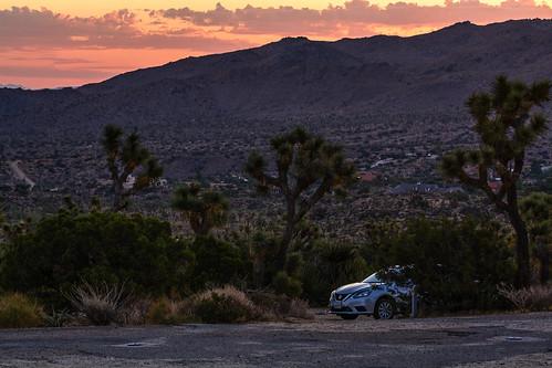 california usa unitedstates car cloud desert joshuatree landscape mountain nature road rock sky sunrise tree