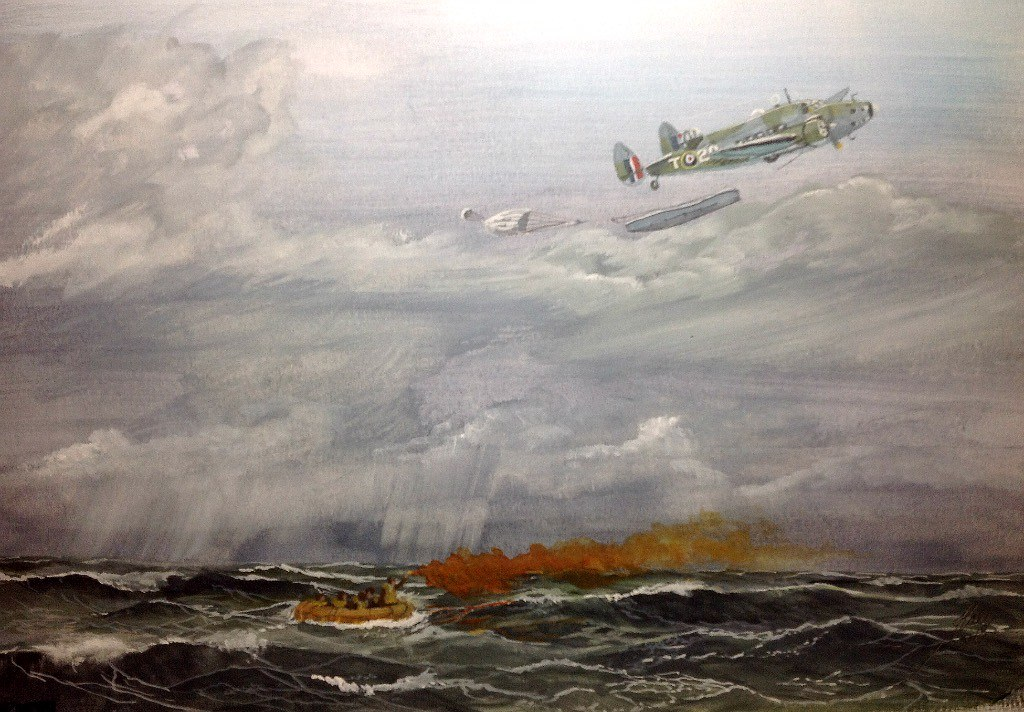 RAF Hudson drops Airborne lifeboat to downed crew