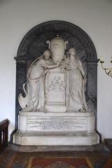 Faith and Hope with a portrait urn for John Henniker Major (John Kendrick, 1820s)