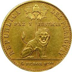 1867 Paraguay 4 pesos Bouver design obverse