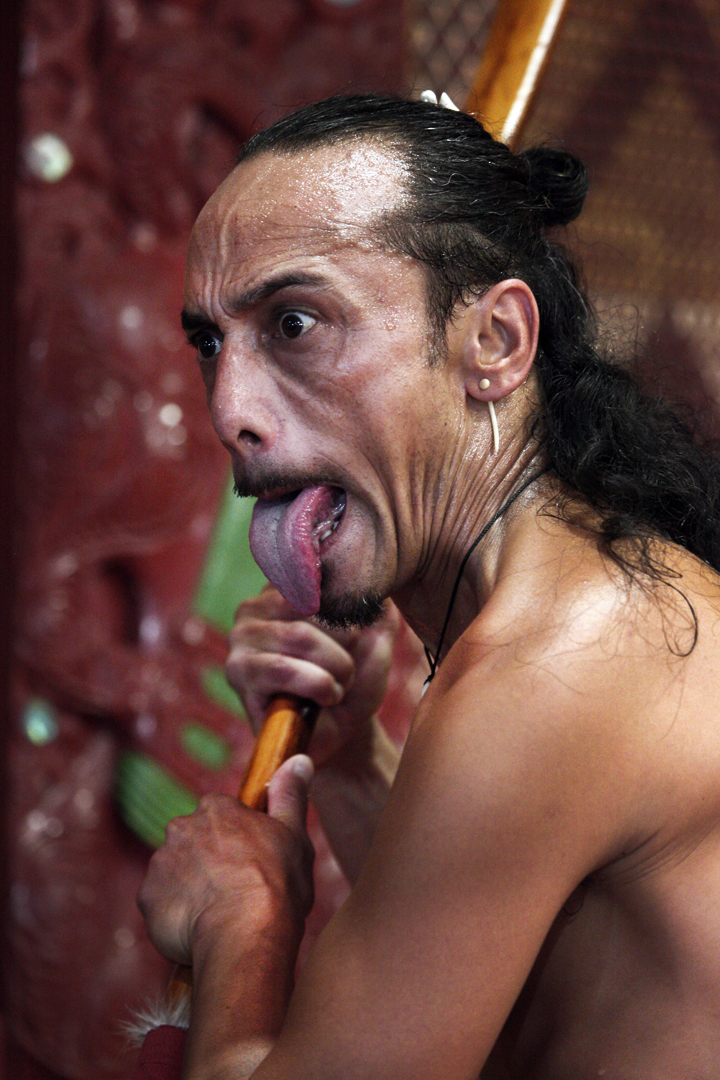 When performed by men,[5] the haka features protruding of the tongue. Photo taken by Steve Evans on January 10, 2011.