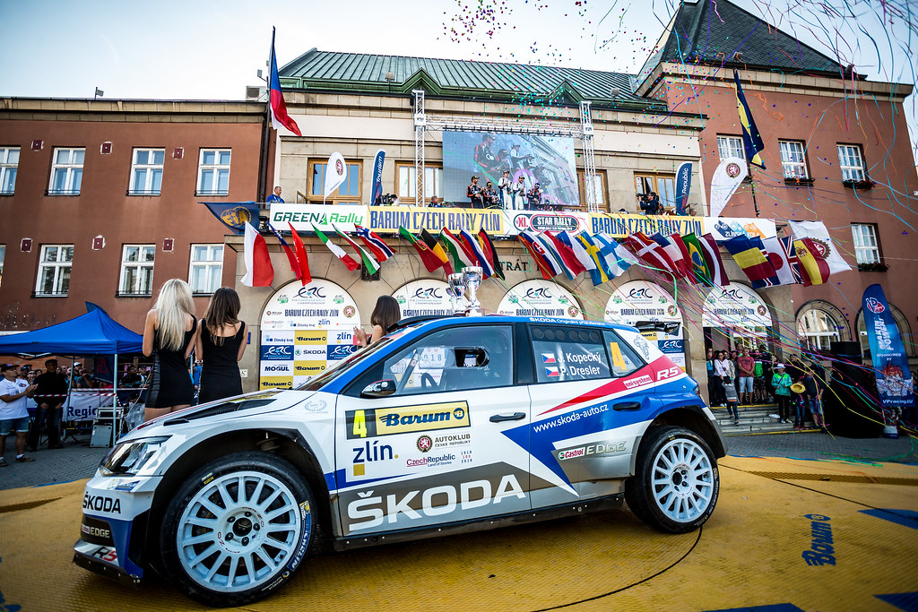 04 Kopecky Jan, Dresler Pavel, CZE/CZE, Skoda Motorsport, Skoda Fabia R5, podium ambiance during the 2018 European Rally Championship ERC Barum rally,  from August 24 to 26, at Zlin, Czech Republic - Photo Thomas Fenetre / DPPI