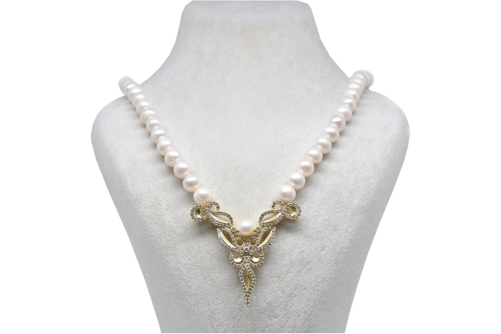 - Ahsen 925K Gümüş Klipsli Doğal Beyaz inci Kolye AH-00082
