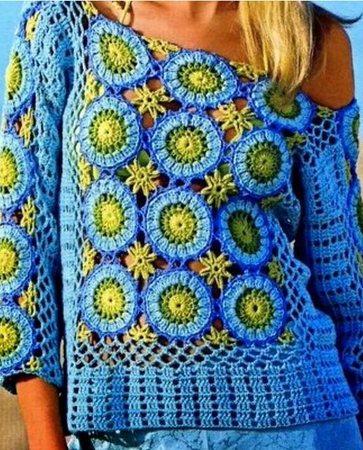 e8dcb06fc0 Mis labores en Crochet  Blusa en colores combinados  Amarillo