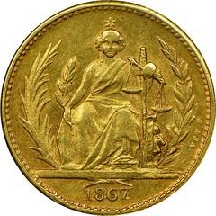 1867 Paraguay 4 pesos Bouver design reverse