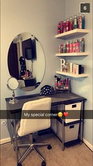 Makeup Ideas 2017/ 2018 - Corner vanity spot. Would use different mirror and vanity but like shelves and f...