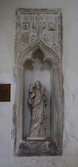 image niche (14th Century) and modern good shepherd statue