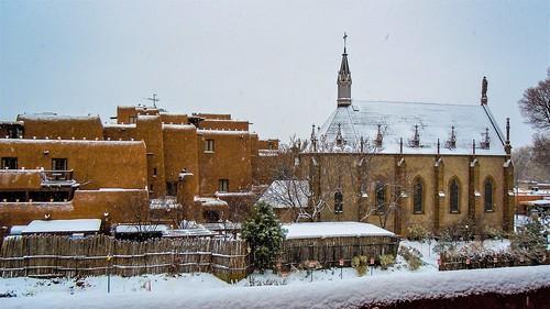 southwest santafe santa fe snow church adobe newmexicotrue newmexico new nm winter landscape usa