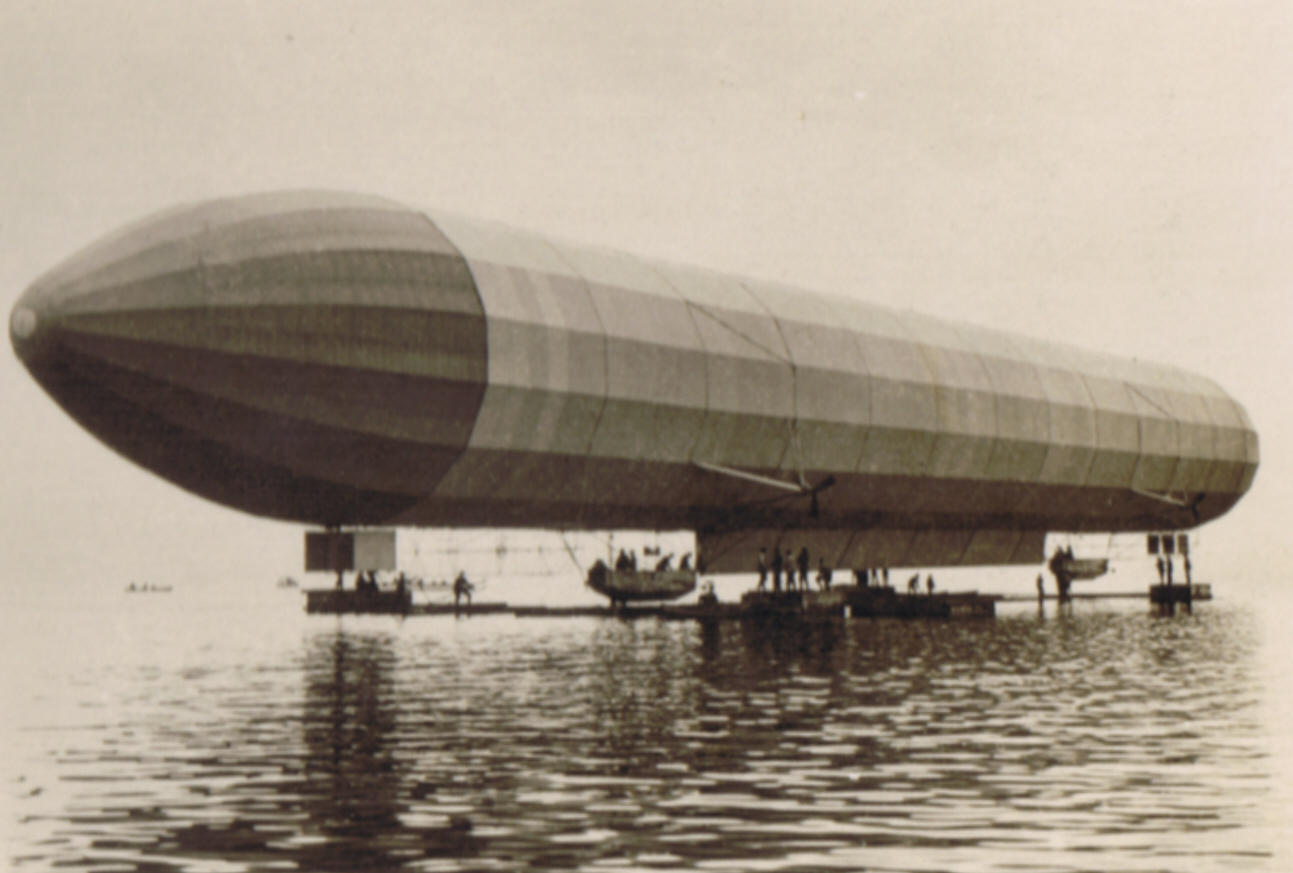 The Zeppelin LZ 2 on Lake Constance, 1905.