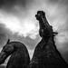 horse heads rearing against the storm, fine art black & white of The majestic Kelpies towering over the Forth & Clyde Canal, Falkirk, Scotland, UK