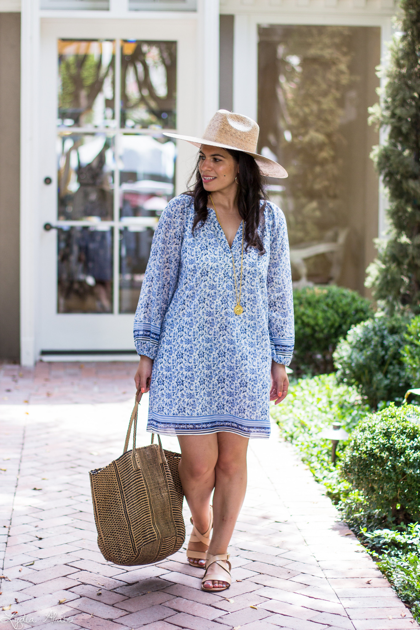 blue and white joie tunic dress, lack of color straw hat, straw tote-11.jpg