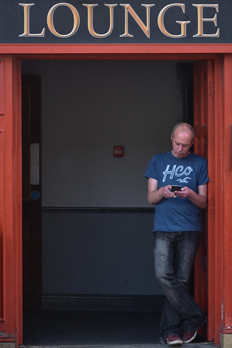 Man lounging in the lounge door, Ardee