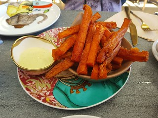 Sweet Potato Fries with Dill Mayo at The Cardamom Pod Southport