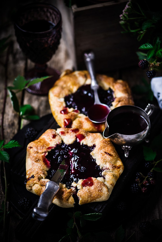Blackberry Galette with Red Wine Sauce.style rustic