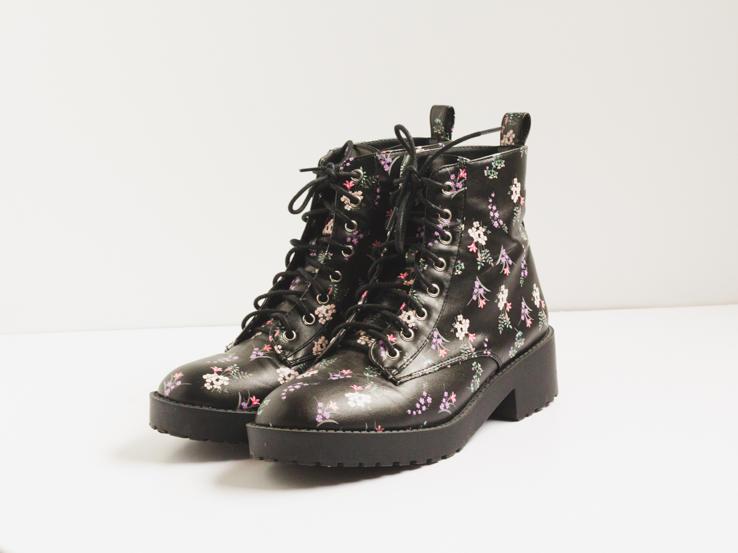 New in: floral combat boots