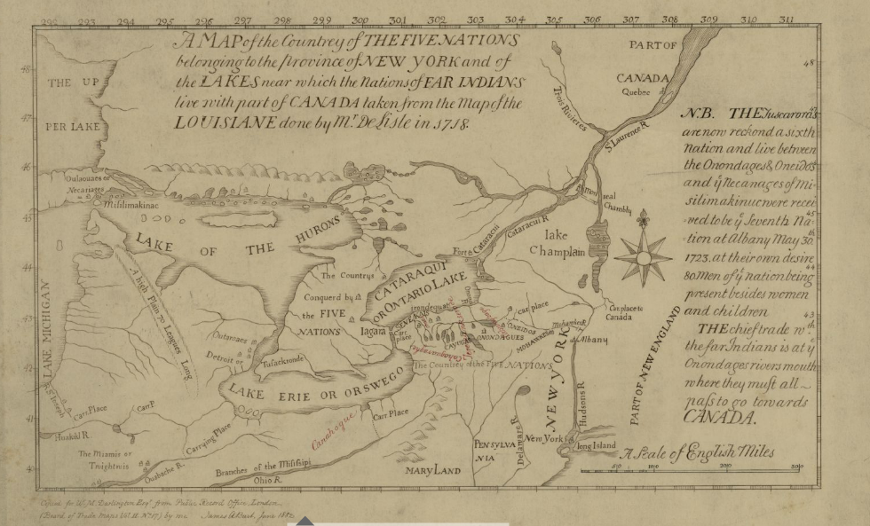 Map of the Five Nations, 1730. Part of the Darlington Map Collection housed in the Archives Service Center, University Library System, University of Pittsburgh, Pittsburgh Pennsylvania.