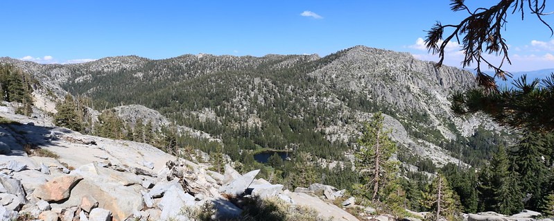 One of the Grouse Lakes below us and Jakes Peak (left of center) from the Tahoe-Yosemite Trail