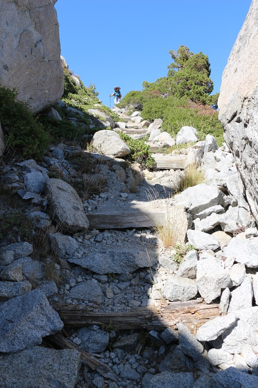 The Tahoe-Yosemite Trail has lots of stony steps between Rubicon Lake and Phipps Pass